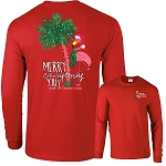 Long Sleeve Merry Christmas Y'all Flamingo T-Shirt